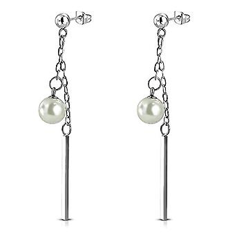 Autiga - STAINLESS steel pin earrings with cubic zirconia crystals, women's and stainless steel, color: Ref pearls. 4058433405127