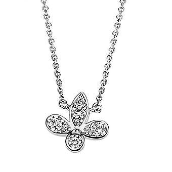Goldmaid - Halsband för kvinnor i vitt guld 585, 8 vita stenar