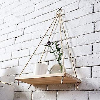 Premium Wood Swing Hanging Rope Wall Mounted Floating Shelves – Plant Flower