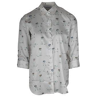 Just White Dog Print Adjustable Sleeve Ladies Shirt