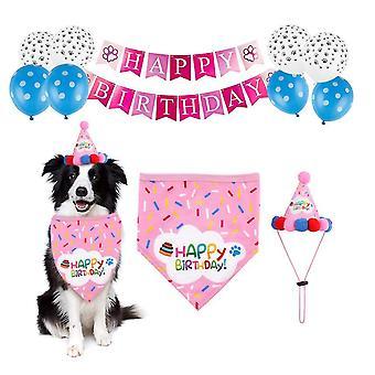 Rózsaszín kisállat születésnapi party dekoráció meg születésnapi kalap, háromszög sál az6202