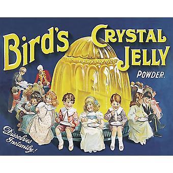 Vintage Metalli merkki Retro Advertising Linnut Kristalli Hyytelö Jauhe