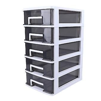 Household Four-layer Storage Cabinet Plastic Drawer Type Closet Portable Multifunction Dustproof Storage Rack Organizer Furniture (white Frame And Tra
