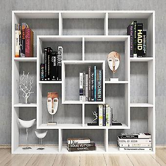 Frame Bookcase, White Color in Melamine Chipboard, L125xP22xA125 cm