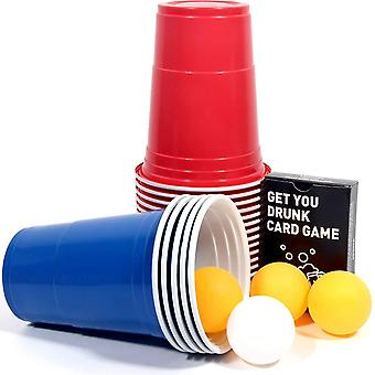 50 Bierpong Becher Set, Beer Pong Party Cups, Plastikbecher Trinkbecher, Rote und Blaue Cups
