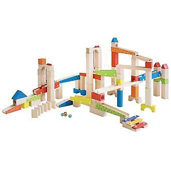 Kugelbahn, Holzkugelbahn groß, 100-teilig, Murmelbahn Bausatz inklusive Bausteinen mit