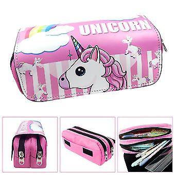Unicorn double-layer pencil case for children with large capacity(Color-2)