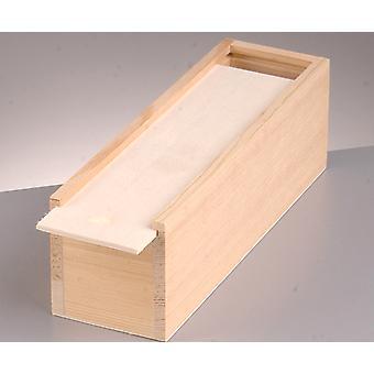 Boîte à crayons en bois de pin moyen de 23 cm avec couvercle coulissant Boîtes en bois pour l'artisanat