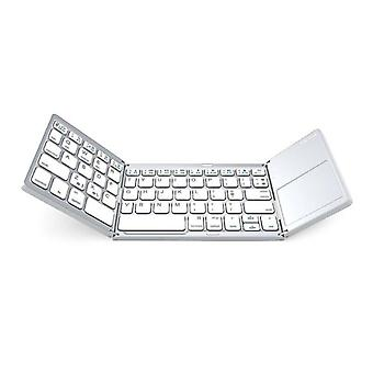 (Silver) Bluetooth USB Wired Foldable Keyboard With Touchpad Mouse Rechargeable Portable