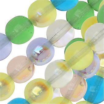 Czech Glass Druk Beads, Round 8mm, 50 Pieces, Spring Flowers Mix