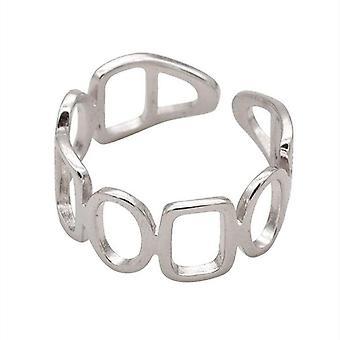 4PCS נחושת מלבנית אליפסה חלולה תפירה גיאומטרית טבעת אצבע נקבה אופנה ייחודית