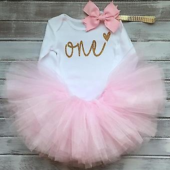 Baby Outfit Kleider Langarm Rompertutu Kleid & Stirnband Set