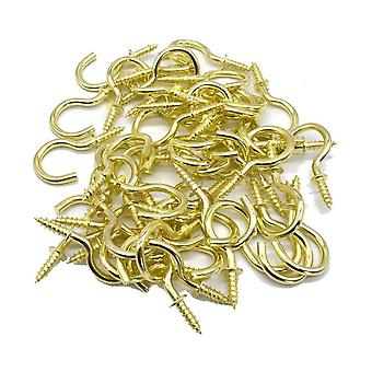 1inch Brass Plated Metal Screw-in Ceiling Hooks Cup Hooks