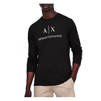 Armani Exchange A x Mens Logo Långärmad T Shirt Svart