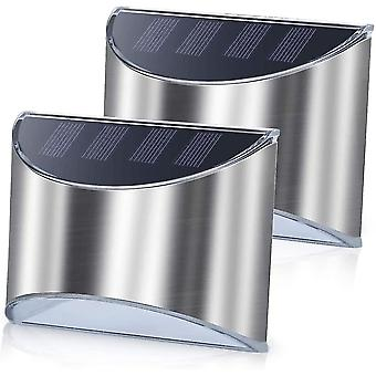 Security lights 2 pack stainless steel security solar wall lights
