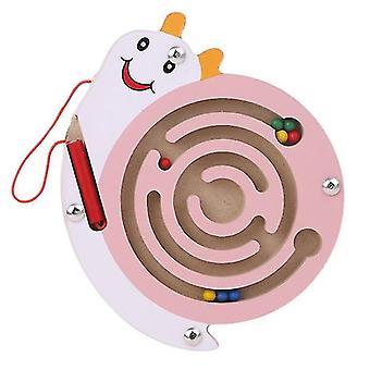 Børn magnetisk labyrint legetøj træ puslespil (Pink Snail)