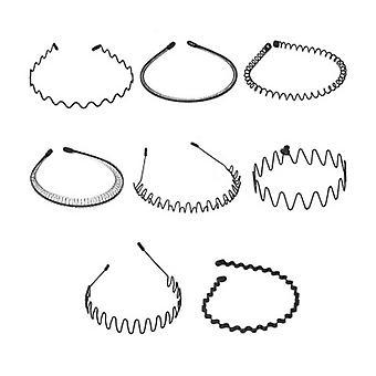 Unisex Metal Hair Band, Wave Metal Čelenka, Protiskluzová elastická čelenka