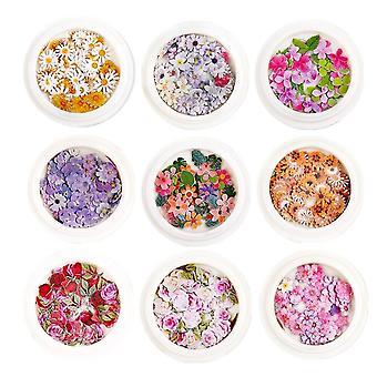 Autocollants d'ongles de fleur 3d, 450pcs Simulation holographique Feuille de fleur