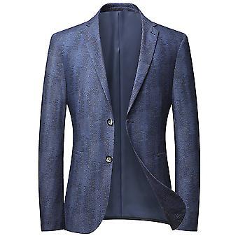 מייל גברים מובלטים שורה אחת שני כפתורים ללא חליפה מזדמנת כחול