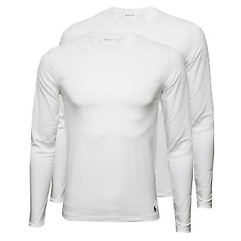 Polo Ralph Lauren 2-Pack Långärmad Crew-Neck T-Shirts, vitt med marin