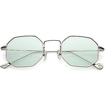 Premium octágono geométrica gafas de sol Ultra Slim Color Metal teñido plana lente de 49mm