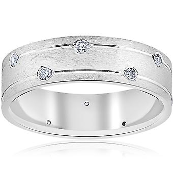 Herre 14k White Gold Diamond Comfort Fit vielsesring Band 6MM