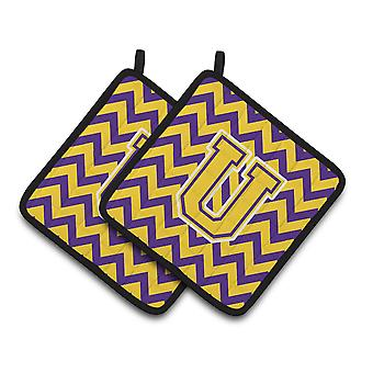 Letter U Chevron Purple and Gold Pair of Pot Holders