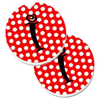 Letra I monograma inicial rojo lunares negro juego de 2 tazas porta coche posavasos
