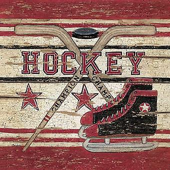 Hockey Poster Print by Linda Spivey (12 x 12)