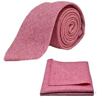 Stentvättad röd slips & Pocket Square Set