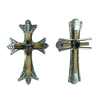 Rustic Wood and Galvanized Metal Triple Layered Wall Cross 2 Piece Set