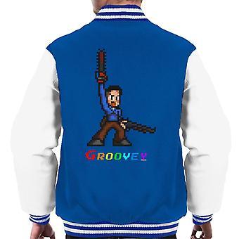 Ash Evil Dead Pixel Chainsaw Men's Varsity Jacket