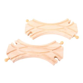 Bigjigs Rail Wooden Double Curved Turnouts (Pack of 2) Track Railway Expansion