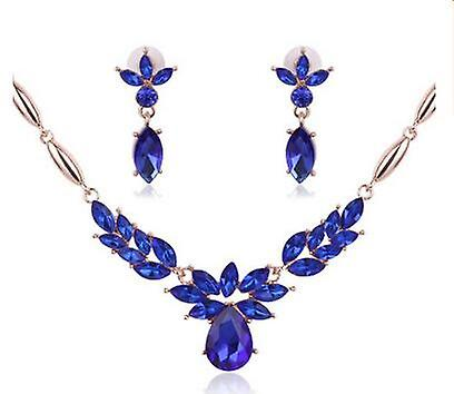Royal Blue Crystals Necklace and Earrings Set