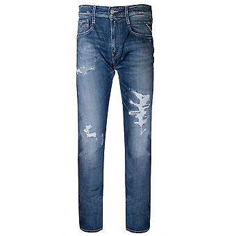 Replay Distressed Indigo Blue Anbass Super Stretch Jean