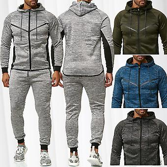 Men's Jogging Suit Sweat Shirt Zip Jacket Trousers Set Fitness Sport Running GYM