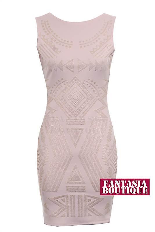 Uusi hyvät Hihaton helmillä heimojen Pattern naisten Bodycon mekko