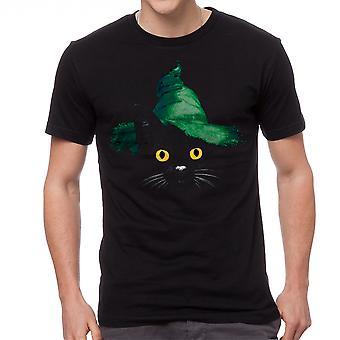 Wizard Hat Black Cat Graphic Men's Black T-shirt