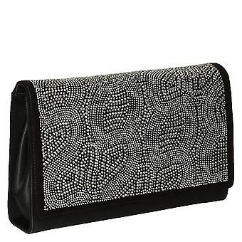 Sort semsket skinn og strass kveld clutch bag