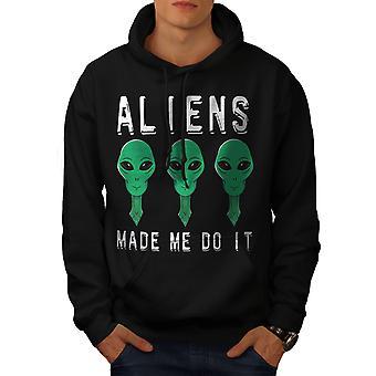 Aliens Mystery Funny Men BlackHoodie | Wellcoda