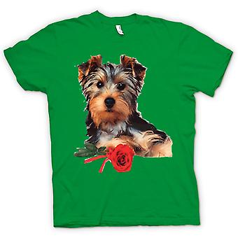 Kinder T-shirt-Yorkshire-Terrier Hund mit Rose