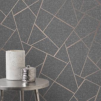 Fd42283 Quartz élégant Fractal Glitter cuivre argent papier peint 10.05x0.52M