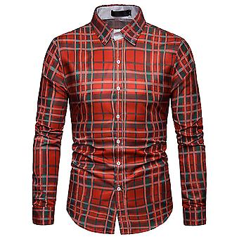 Cloudstyle Men's Shirt Colorblocked Checked Cotton Casual Shirt
