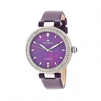 Empress Louise Automatic MOP Leather-Band Watch - Purple
