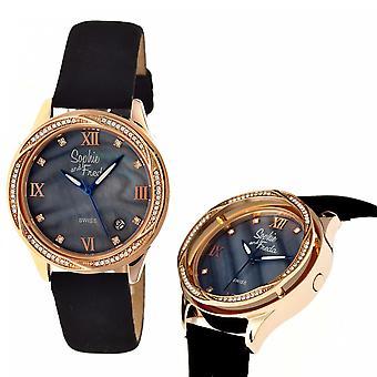 Sophie & Freda Los Angeles Swiss Ladies Watch - Rose Gold/Black