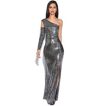 Luxe Sequin Cold Shoulder Maxi Dress