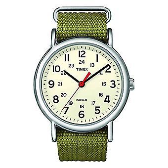 Timex T2N651 pols horloge, analoog, Unisex, stof, Beige/groen
