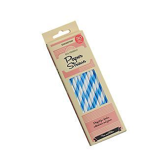 Eddingtons 30 Pack pailles de papier, bande bleue