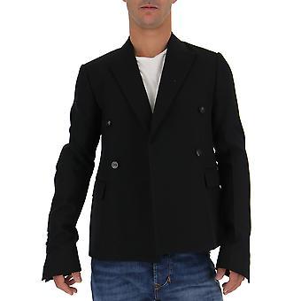 Rick Owens Ru18f1734wh09 Men's Black Wool Blazer