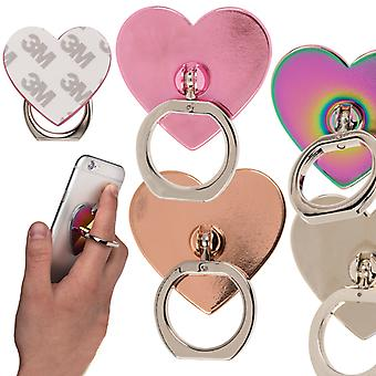 Universele autotelefoonhouder vinger Ring houder chroom/zilver hart bureaublad staan, 1ste